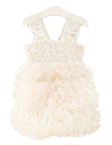 2Bunnies Girl Baby Girl Lace Flower Girl Birthday Party Tutu Tulle Dress (Ivory, 4T)