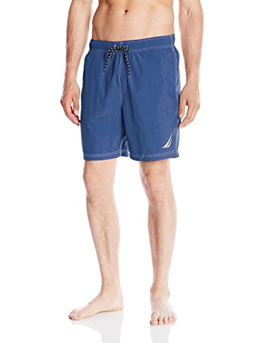 Nautica Men's Quick Dry Solid Swim Trunk, Blue, Large