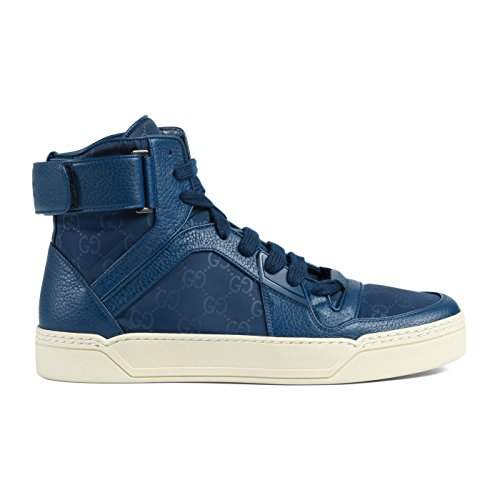 Gucci Men's Blue Nylon Leather GG Guccissima High Top Sneakers Shoes, Blue, US 8.5 7.5