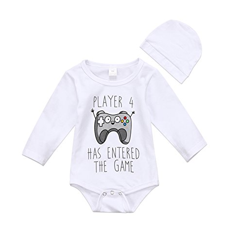 0d24a9dec2f Cute Infant Newborn Baby Boy Girl Long Sleeve Game Bodysuit Romper With Hat  Jumpsuit Outfit Clothes