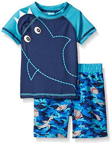 Baby Buns Baby Boys' Sharknato Rashguard Swim Set, Multi, 3-6 Months