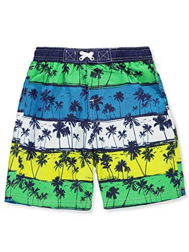 iXtreme Little Boys' Palm Tree Beach Swim Trunk, Navy, 5