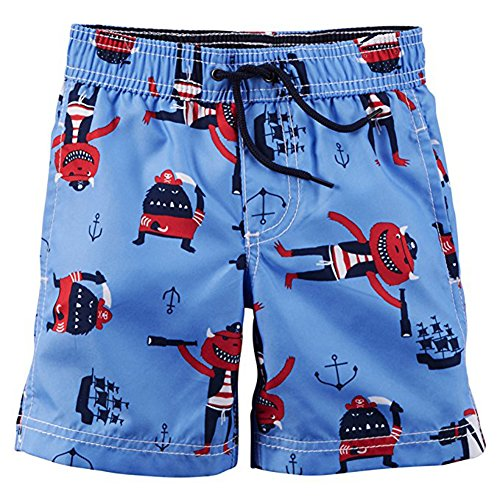 Carter's Little Boys Toddler Printed Swim Short, Blue 2T