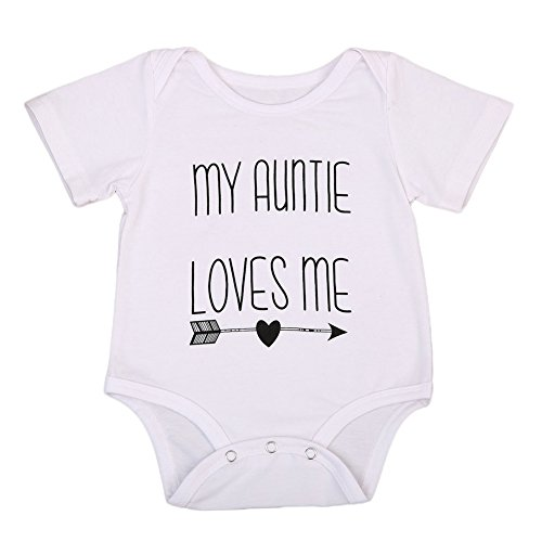 Cotton Newborn Infant Baby Boys Girls Short Sleeve Aunt Bodysuit Romper Outfit Clothes (3-6 Months, White)