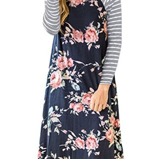 AUSELILY Women's Floral Print Round Neck Tunic Simple A-line Dresses Knee Length
