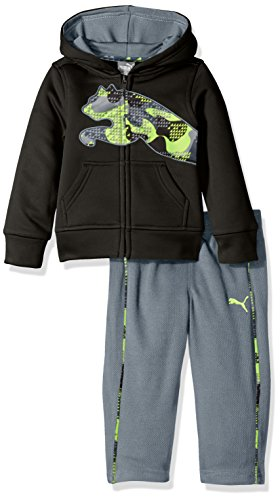 PUMA Baby Boys' 2 Piece Tech Fleece Hoodie Wrapped Cat and Pant Set, Black, 24 Months