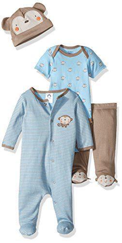 Gerber Baby Boy 4 Piece Sleep 'n Play, Onesies, Footed Pant and Cap Set, Monkey, 0-3 Months