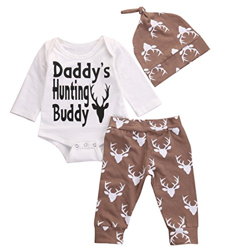 Funny Newborn Baby Boys White Deer Bodysuits and Long Pants with Hat 3Pcs Outfits Set (70cm/0-3 Months)
