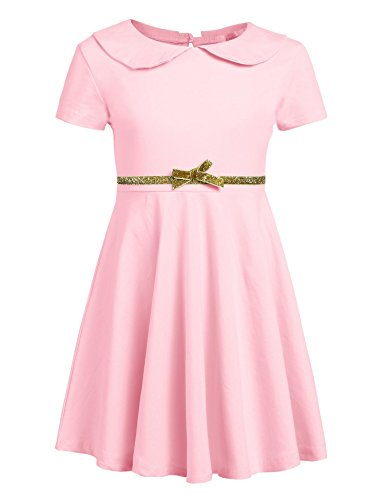 Arshiner Girls Short Sleeve Doll Collar Dress Solid Color A Line Peter Pan Collar Cotton Dress,A-misty Rose,110(Age for 4-5 years)