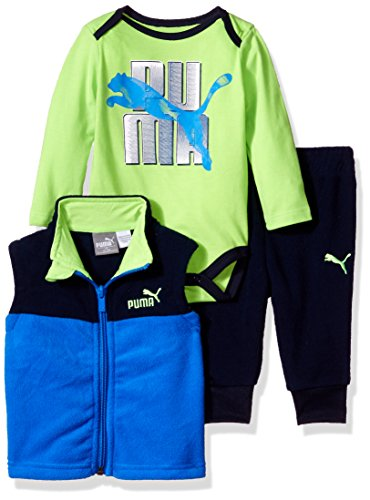 PUMA Baby Boys Three Piece Hoodie Creeper Set, Deep Navy/Blue, 0-3 Months