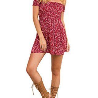 BerryGo Women's Vintage Off Shoulder High Waist Floral Print Beach Mini Dress Red