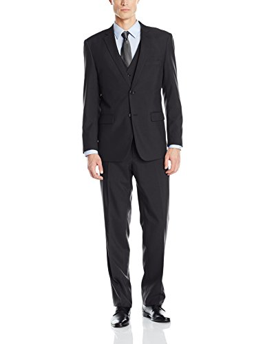 Alain Dupetit Men's Three Piece Two Button Suit, Black, 44 Long/38 Waist