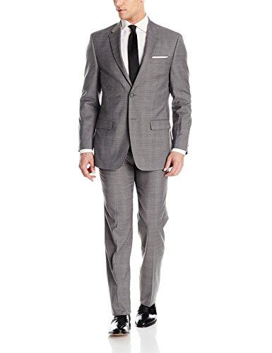 Tommy Hilfiger Men's Two Button Slim Fit Glenplaid Suit, Grey, 44 Regular