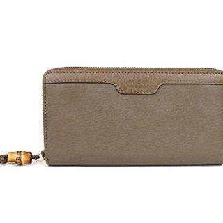 Gucci Women's Leather Wallet Around Zip Hip Bamboo Clutch (Maple Brown)