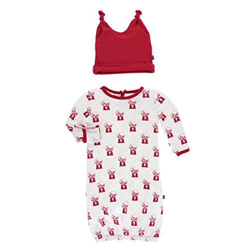 Kickee Pants Print Layette Gown and Double Knot Hat Set Natural Gumball Machine (Newborn)