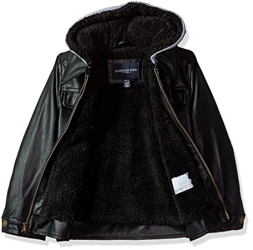 5612af1eb London Fog Baby Toddler Boys  Faux Leather Bomber Jacket With Hood ...