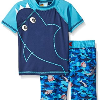 Baby Buns Boys' Sharknato Rashguard Swimwear Set, Multi, 12 Months