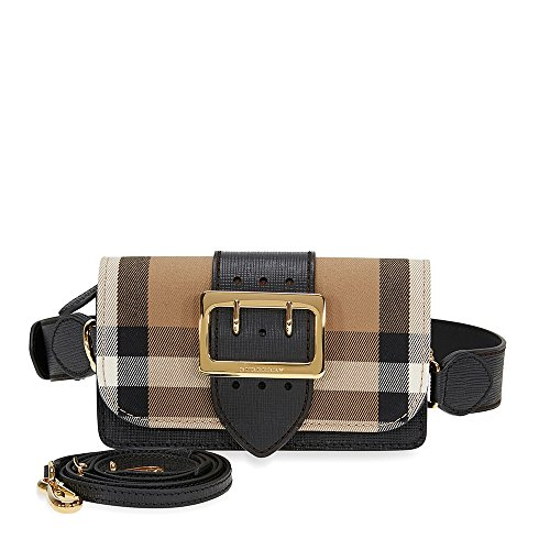 Burberry Women's The Small Buckle Bag In Check and Leather Black