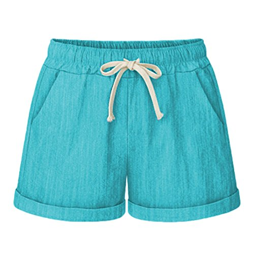 Chartou Women's Elastic Waist Cotton Linen Casual Beach Shorts with Drawstring (Large, Green)