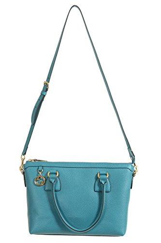 Gucci Women's Pebbled Leather Ocean Blue Satchel Handbag Bag