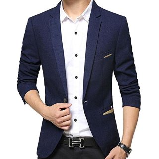 Benibos Men's Premium Casual 1 Button Slim Fit Blazer Suit Jacket (S, 619Navy)