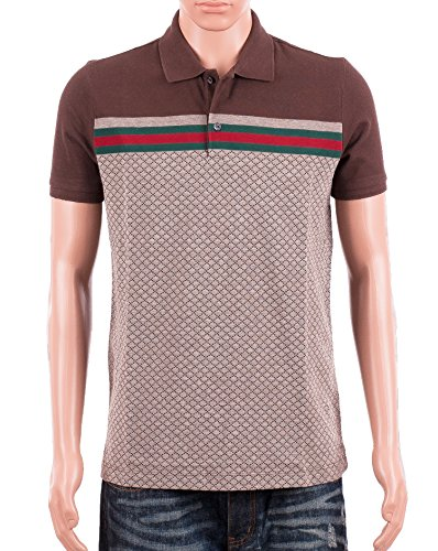 Gucci Mens Polo Shirt Brown with Diamante Print and Front Stripe Signature (XL)