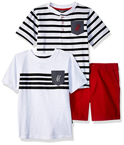 American Hawk Toddler Boys' T-Shirt, Striped Henley, and Short Set, Engine Red, 3T