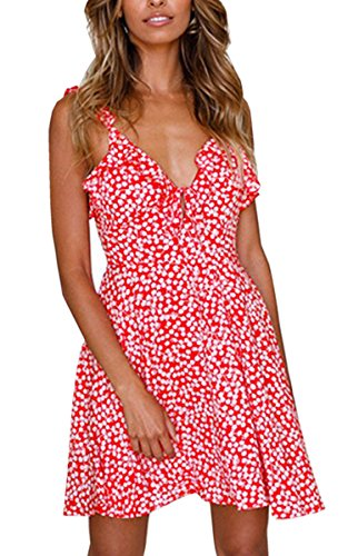 Angashion Women's Dresses-Floral Print Sleeveless Ruffle V Neck A Line Swing Mini Dress
