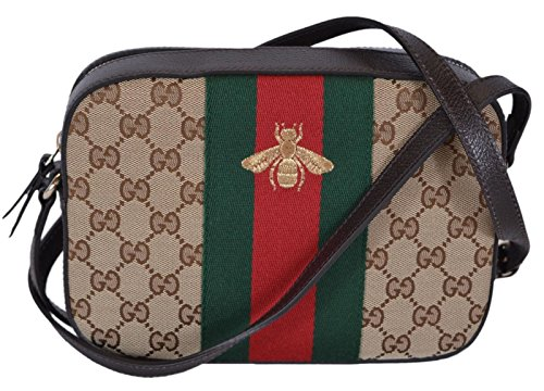 Gucci Women's Canvas and Leather Green Red Web BEE Crossbody Bag (Beige)