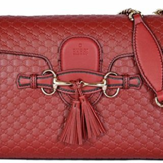 Gucci Emily Micro GG Burgundy Guccissima Red Leather Shoulder Handbag Bag New