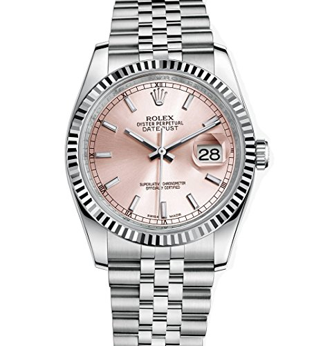 Rolex Datejust 36 Stainless Steel Watch Pink Dial