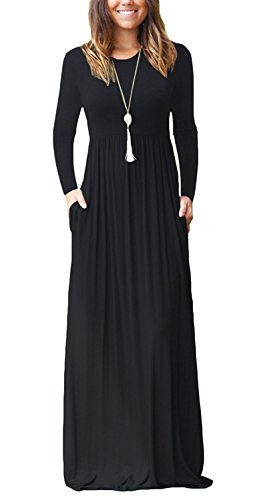 AUSELILY Women Long Sleeve Loose Plain Long Maxi Casual Dress With Pockets (2XL, Black)