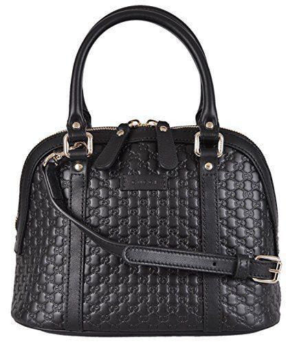 Gucci Women's Micro GG Black Leather Convertible Mini Dome Purse
