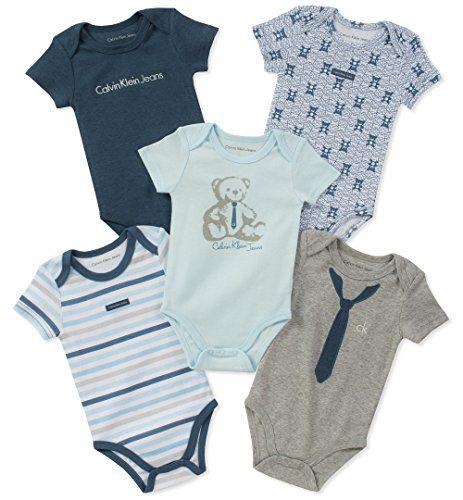 Calvin Klein Baby Boys 5 Pack Bodysuits, Blue/Gray, 6-9 Months