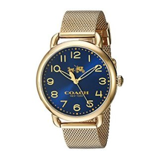 Coach Women's Delancey Gold Tone Stainless Mesh Bracelet Blue Dial Watch