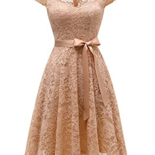 Dressystar 0026 Sweetheart A-Line Short Floral Lace Cocktail Bridesmaid Dress with Bow M Champagne
