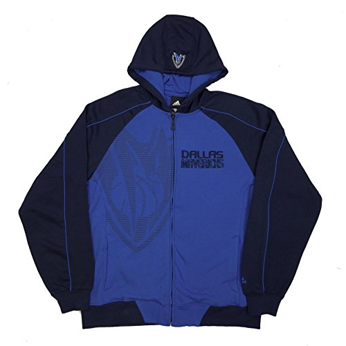 Dallas Mavericks adidas Pindot Full-Zip Fleece Hooded Sweatshirt - Blue