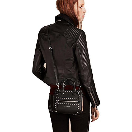 Home Shop Women Accessories Handbags   Wallets Tote Bag Handbag Burberry  The Baby Banner in Studded Leather and House Check Black Item 40123881 7bbd287a4088f