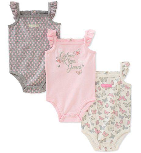 Calvin Klein Baby Girls 3 Pieces Pack Bodysuits, Pink/Gray/White, 3-6 Months