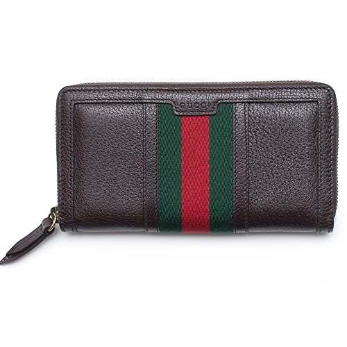 Gucci Wallet Brown Leather Web Strip Continental Zip Around New Box