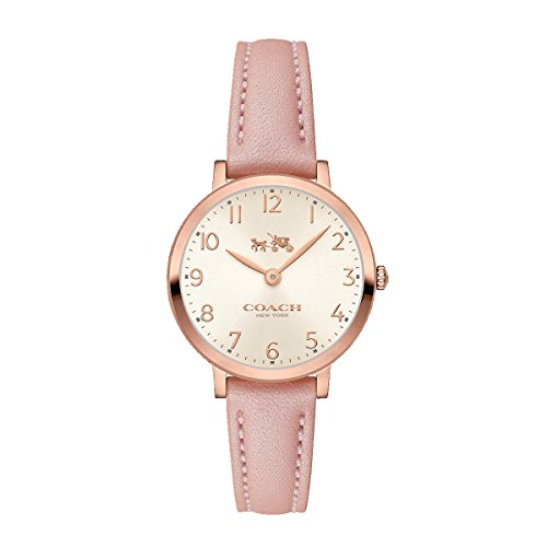 Coach Womens Ultra Slim Pink Leather Strap Watch