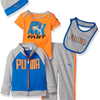 PUMA Baby' 5 Piece Hoodie Set, Lt Heather Grey, 0/3M