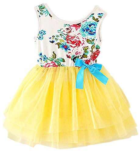 2Bunnies Baby Girls Floral Flower Girl Dress Tulle Tutu Birthday Party Sundress (18M, Passion Yellow)