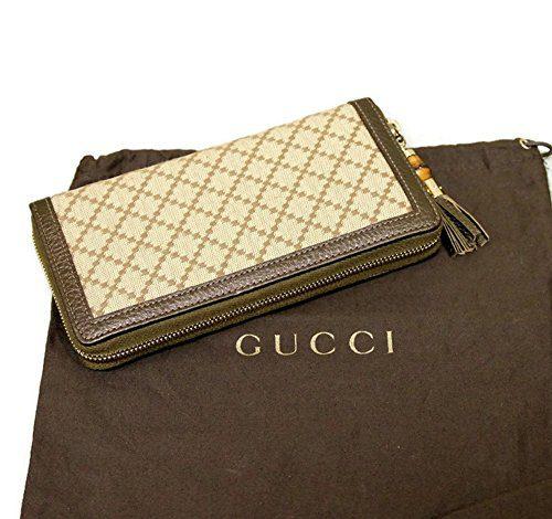 2d4825f770d Gucci Bamboo Bronze Diamante Canvas Clutch Zip Around Wallet Clout ...