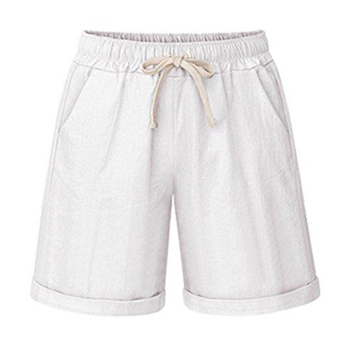 Chartou Women's Basic Summer Elastic-Waist Knee Length Loose Harem Curling Bermuda Shorts (White, Large)