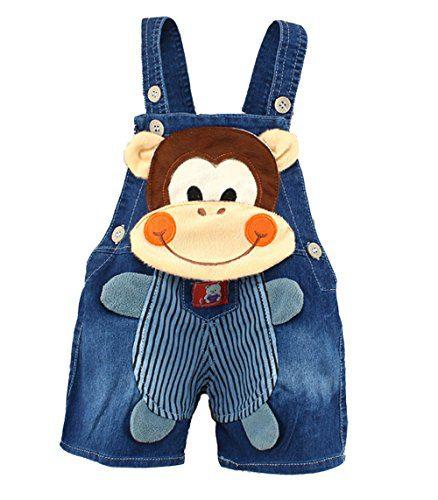 Kidscool Baby Summer Cotton Denim 3D Cartoon Monkey Soft Shorts Overalls