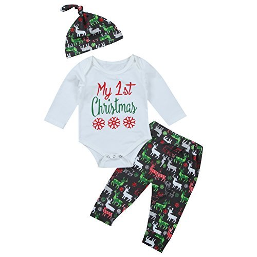 3Pcs Cute Baby Girl Boy Long Sleeve 1st Christmas Bodysuit and Deer Pants Outfit with Hat Xmas Clothes (6-12 Months, White)