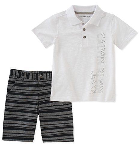 Calvin Klein Baby Boys 2 Pieces Polo Shorts Set, White, 12M