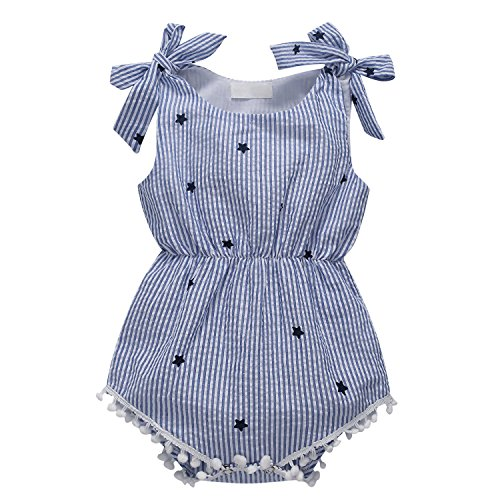 Baywell Baby Girl Romper Newborn Infant Sleeveless Star Printed Bow-Knot Jumpsuit Bodysuit