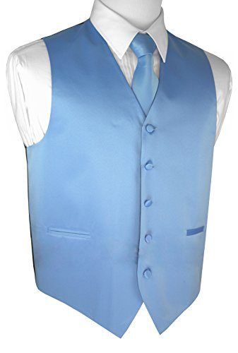Brand Q Men's Formal Prom Wedding Tuxedo Vest, Tie & Pocket Square Set-Cornflower-L